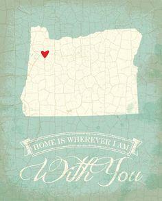 Oregon map art state poster- 8 x 10 Typographic poster, inspirational print, wall decor, kitchen art, digital print, quote art