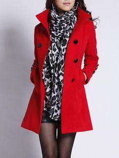 #BerryLook - #berrylook High Neck Double Breasted Belt Plain Woolen Coat - AdoreWe.com