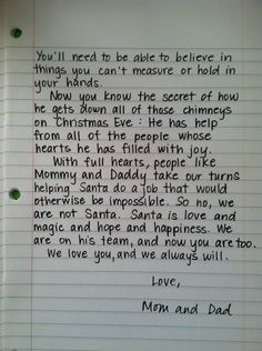 How sweet is this?! Letter for when kids find out about Santa<3