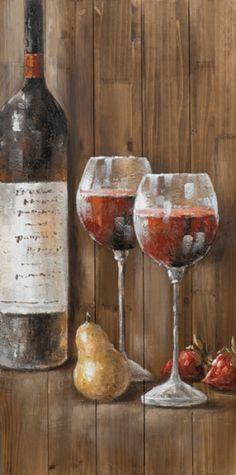 schilderij wijnfles op steigerhout 50x100