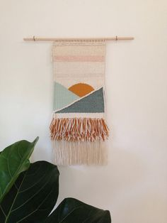 Handmade wall hanging ocean | mountains weaving by Erin Georgeson