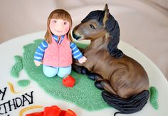 Fondant Horse and Figure. Cake toppers.