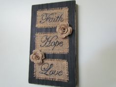 Distressed Black Wooden Wallhanging w burlap Burlap Projects, Burlap Crafts, Wooden Crafts, Diy Projects, Burlap Ornaments, Burlap Art, Burlap Signs, Crafts To Make, Home Crafts