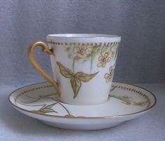 Fine Porcelain Demitasse Cup Saucer T V Limoges Buttercups not Artist Signed Old   eBay