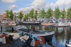 Grachtengezicht te Amsterdam, olieverf op linnen, Bram de Jong