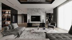 Home Living Room, Apartment Living, Living Room Designs, Living Spaces, Interior Design Inspiration, Home Interior Design, Interior Architecture, Fireplace Design, Architect Design