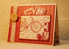 Bicycle Handmade Birthday Card, Vintage Bike Card, Paris, French Theme, Eiffel Tower, Postage Stamp, Journey