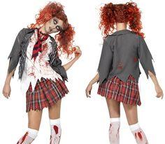 Zombie school girl inspired Halloween fancy dress costume by Smiffy`s costumes . Zombie School Girl, Halloween Fancy Dress, Costume Dress, Peplum, Costumes, Models, Inspiration, Inspired, Tops