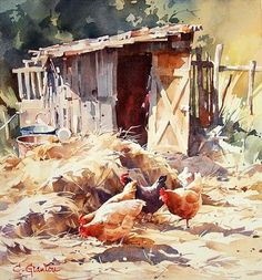 Christian Graniou nostalgic wooden shed and chickens in the farmyard
