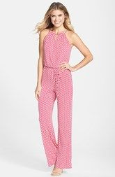 Laundry by Shelli Segal Chain Detail Print Jersey Jumpsuit