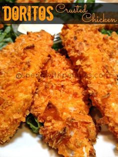 1 Bag of Doritos, any flavor (I used Nacho Cheese) 1/2 Cup Panko bread crumbs 1 Egg 2 tablespoons milk 2 chicken breasts cut breast into strips, dip into egg/milk mixture then into doritos/panko mixture - bake at 350 for 15 min - what kid wouldn't eat these if they helped and saw you were using doritos?