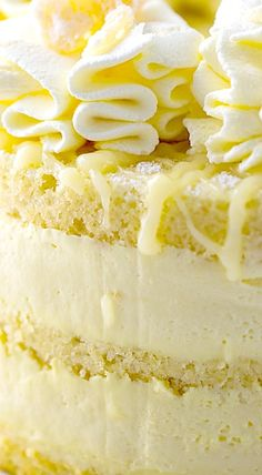 Lemon Cheesecake Mousse Cake ❊ - Recipes New Lemon Desserts, Lemon Recipes, No Bake Desserts, Just Desserts, Baking Recipes, Delicious Desserts, Dessert Recipes, Lemon Cakes, Coconut Cakes
