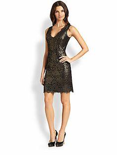 Plunging v-neck metallic lace dress