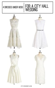 Wedding Dresses - 4 Dresses Under $200 Perfect for a City Hall Wedding || Kiss My Tulle