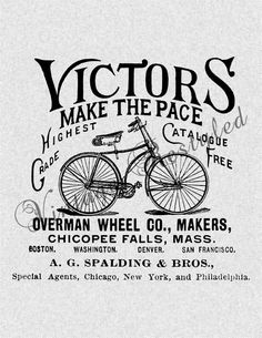 Vintage Bicycle Ad Digital Download for Iron On Image Transfer for Burlap, Tote Bags, Tea Towels, Pillows 135. $2.00, via Etsy.