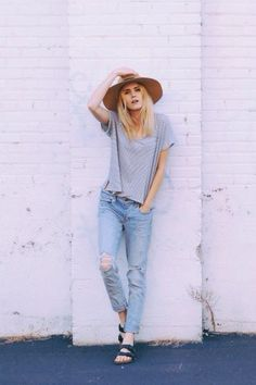 Comfy hipster. Hat, burks, boyfriend jeans, grey tee