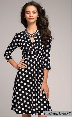 Cute Dress For Woman, Polka Dot Dress Wrap,Knee Length Skirt   Flared Dress Casual.