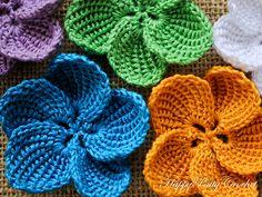 Ravelry: Plumeria Flower pattern by Happy Patty Crochet ༺✿ƬⱤღ✿༻