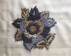 Grey Gold Floral Embroidery Applique,Indian Handmade Cutwork Sequins Zardozi Embroidery Patch,Roses Boho Denim Patch Bag by IndianCraftSafari on Etsy Zardozi Embroidery, Hand Work Embroidery, Embroidery Patches, Vintage Embroidery, Embroidery Applique, Floral Embroidery, Beaded Embroidery, Embroidery Patterns, Hand Embroidery Designs