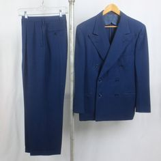 "Vintage 1950's Man's 2pc Cobalt Blue Gabardine Wool Zoot Suit  by ""Michaels-Stern"" - AS IS by delilahsdeluxe on Etsy"