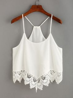 Are you looking cami and swing Tops this summer We've picked out the best of the bunch of cami tops; black lace cami top and high neck cami. Chiffon Cami Tops, Sleeveless Crop Top, Lace Crop Tops, Chiffon Shirt, White Chiffon, Lace Trim Tank Top, White Crop Top Tank, Cropped White Shirt, Crop Tank