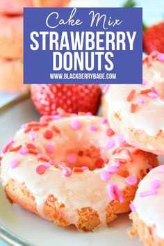 Easy to make in the oven! Strawberry Cake Mix donuts. #breakfast #donut #strawberrycakemix #cakemixdonut #cakemixrecipe Easy Dinner Recipes, Appetizer Recipes, Appetizers, Baked Strawberries, Cake Mix Recipes, Kid Friendly Meals, Cocktail Recipes, Donuts, Side Dishes
