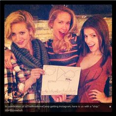 Anna Kendrick, Anna Camp & Brittany Snow behind the scenes of Pitch Perfect.