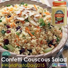 RiceSelect Couscous... tiny in size, but big in flavor!  Celebrate #WorldPastaDay by whipping up our recipe for Confetti Couscous Salad!