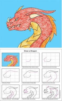 Art Projects for Kids: How to Draw a Dragon. Includes a free print-friendly PDF download. by els1000