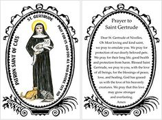St. Gertrude of Nivelles, Patron Saint of Cats