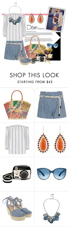 """Untitled #3386"" by kellie-debrandt-mescher ❤ liked on Polyvore featuring Tory Burch, L'Agence, Warehouse, Arya Esha, Betsey Johnson, Michael Kors, Kenneth Cole, jeanshorts, denimshorts and cutoffs"