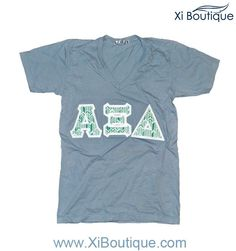 Xi Boutique Thursday Favorite! Alpha Xi Delta Gray V-Neck w/Turquoise Feathered Letters