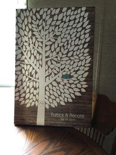 Rustic Wood Wedding Tree Canvas | Guest Book Alternative | Rustic Wedding | Customer Photo | Wedding Color - Teal | peachwik.com