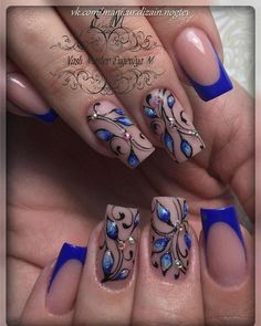 Nail Trends That Keep You Uniquely Fashionable Nail Trends That Keep You Uniquely Fashionable Blue Nail Designs, French Nail Designs, Acrylic Nail Designs, Punk Nails, Bling Nails, Elegant Nails, Super Nails, Fabulous Nails, Flower Nails
