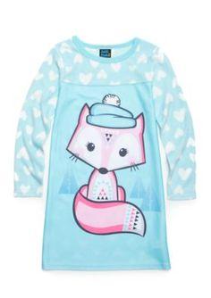 Jellifish Kids Cat Character Sleep Shirt Girls 4-16 - Aqua Fox - Xs