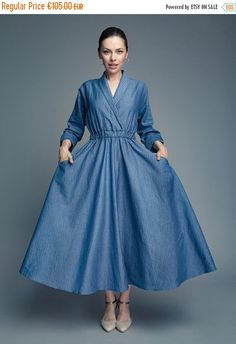 Long #kimono linen dress with long sleeves and side pockets. Simple yet very elegant, classy design. It's made of cotton and linen which makes it very comfortable to wear. It's a great dress for everyday casual, for #work or women over 50, but not only. Great idea for graduation dress for mom.
