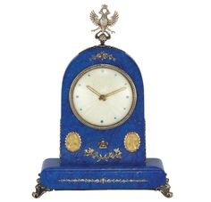 Russian Lapis, Silver, Silver-Gilt, Ruby And Diamond Eight Day Desk Clock, Signed Elgin With Russian Assay Marks - Doyle New York Silver Garland, Clocks For Sale, Retro Clock, The Eighth Day, Antique Clocks, Desk Clock, Lapis Lazuli, Imperial Eagle, Auction