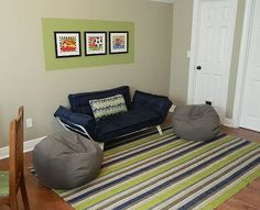 playroom seating area with lounger and bean bags     by Jennifer Taylor Design