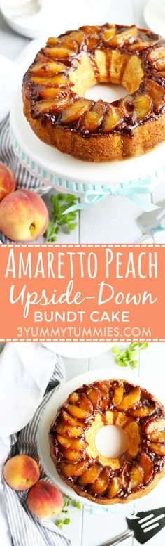 Amaretto makes this Peach Upside-Down Cake with Greek Yogurt a must try!