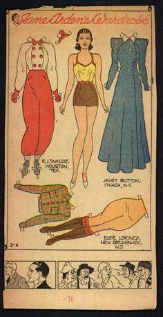 2-6-38 Jane Arden paper doll / eBay