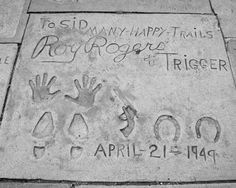 Roy Rogers Hand & Foot Prints 1949 8x10 Reprint Of Old Photo