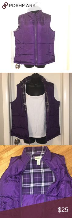 Gander Mountain Puffer Vest Gorgeous Royal Purple puffer vest with plaid detailing on the inside. Reasonable offers accepted!!! Gander Mountain Jackets & Coats Vests