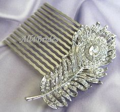 Peacock Feather Rhinestone Crystals Hair Comb Bridal Hair Comb