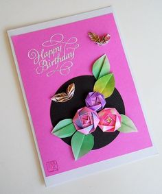 Birthday Card With Roses And Butterflies Origami Christmas Tree Cards Rose