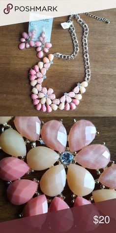 Francesca's shades of peach 2 piece set NWT statement necklace and earrings set from Francesca's. Francesca's Collections Jewelry Necklaces