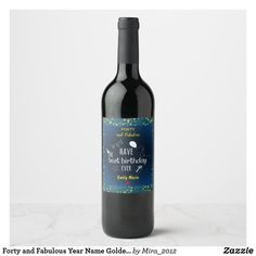 Forty and Fabulous Year Name Golden Stars Birthday Wine Label #fortyandfabulous #40thbirthday #fortiethbirthday #40thbirthdayparty #40thbirthdaygifts #birthdaywinelabels #birthdaypartywinelabels #customwinelabels #customwinebottlelabels #winelabels #personalizedwinelabels #personalizedbirthdaywinelabels #personalizedlabelswinebottles #personalizedlabelswine #personalizedbirthdaylabels #birthdaylabels #customlabels #birthdaypartygifts Personalized Wine Labels, Custom Wine Labels, Wine Bottle Labels, Forty Birthday, 40th Birthday Gifts, Birthday Party Celebration, Fabulous Birthday, Golden Star, Bottle Design