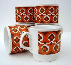 Funky Retro 70's Mugs Staffordshire Potteries Ltd. by RaggleTaggleHawker