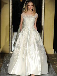 Oleg Cassini short sleeve A-line wedding dress