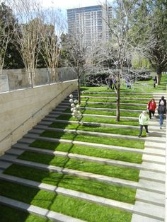 cool grass steps for dog run...Nasher Sculpture Garden