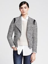NWT Banana Republic Drapey Tweed Blazer Size 2 Black $150.00 SPRING 2015